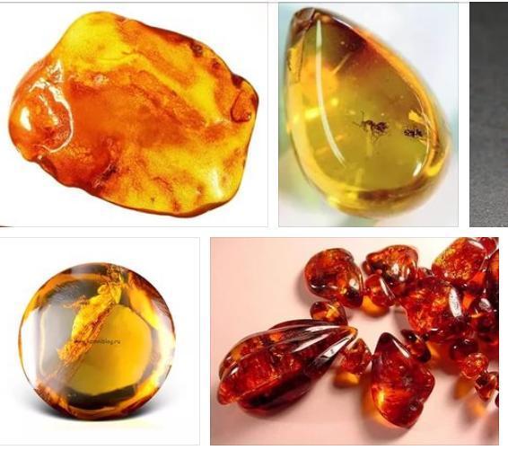 Камень янтарь в виде капли - фото